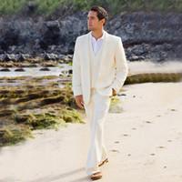 beyaz fildişi damat smokinleri toptan satış-Beyaz, Fildişi Keten Yaz Plaj Mens Düğün Damat Smokin Erkekler Blazers İyi Erkek Groomsmen Balo Parti 3 Adet Ceket Pantolon Yelek Wear Suits