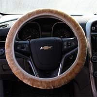 kaliteli direksiyon simidi kapakları toptan satış-Yüksek Kaliteli Araba Direksiyon Kapağı Yumuşak Sıcak Kış Yün Peluş Kış Oto Jant Kapağı Araba styling Aksesuarları