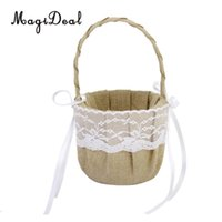 Wholesale rustic decorations for sale - Group buy Eco Friendly Flower Basket Burlap Jute Roses Rustic Wedding Flower Girl Basket With Lace Satin Wedding Party Decoration