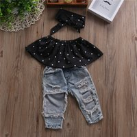 Wholesale Boys 24 Months Jeans - Fashion Kid Baby Girls Clothes Set 3pcs Dot Wrapped Chest Top Vest Ripped Hole Jeans Pants Headband Outfits Casual Clothing Sets