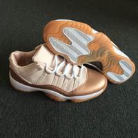 metalik bronz toptan satış-Ucuz Metalik Kırmızı Bronz-Sakız Kahverengi Kadın Ayakkabı 11 Düşük Gül Altın koşu Sneakers Moda bayan basketbol ayakkabı 11 Düşük WMNS AH7860-105