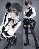 siyah kahya ciel kostümleri toptan satış-Japon Karikatür Anime cosplay Siyah Butler Ciel Phantomhive Cosplay Kostüm Yelek Gömlek Şort tailing Headdress EyePatch