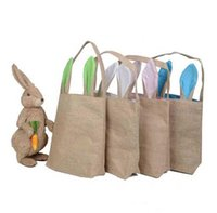 Wholesale burlap fabric bags - 14 Colors INS Burlap Easter Basket with Bunny Ears Bunny Ears Basket Cute Easter Gift Bag Rabbit Ears Put Easter Eggs B11