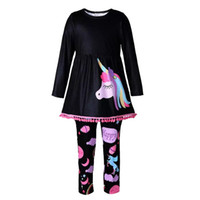 Wholesale Kids Leggings Print - Baby Girl Clothes Long Sleeve Unicorn Print Dress+Rainbow Leggings Casual Kids Spring Autumn Clothing Sets Children Outfits