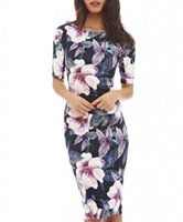 summer dress casual sheath Canada - Women Dress Elegant Floral Print Work Business Casual Party Summer Sheath Vestidos 004-1