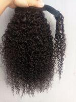 клип виргинские волосы вьющиеся оптовых-Новые Прибытия Бразильский Человека Девы Реми Кудрявый Вьющиеся Хвост Наращивание Волос Клип Ins Natral Черный Цвет 100 г одна пачка