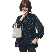 2555f66bd10fb Plus size Chiffon Shirts Star Print Front Short Back Long Large Lady Tops  2018 Autumn Women Loose Sweet Black Blouses