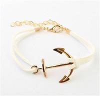 anclajes pulseira al por mayor-Pulseras de anclaje para mujeres hombres pulseras del encanto de la manera brazaletes de la cuerda 8 joyería masculina de cuero Vintage Pulseira Pulsera Mujer 17122006
