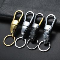metal kirsite al por mayor-Mejor oferta al por mayor Innovador Metal Leopard Head Kirsite llaveros Anillos titular para llaveros del coche KeyChains alta calidad