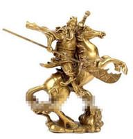 ingrosso guan yu statua-WBY spedizione gratuita cinese antico eroe Guan Gong Guan Yu a cavallo * statua di bronzo