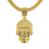 Wholesale Coolest Party Accessories - 2018 Cool Skull Necklace Gold Vacuum Plating Personality Necklace Women And Men Hallowmas Jewelry & Accessories Christmas Gifts