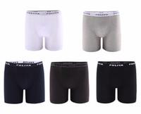 мужское нижнее белье оптовых-5 Pieces/Lot Long Boxers Men Underwear Solid Cotton Spandex Male Underpants Long Leg Boxer Shorts Homewear Hombre Soft Panties