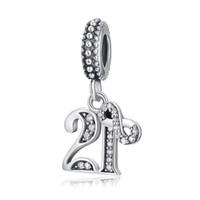 21 schmuck großhandel-2018 sommer neue authentische 925 sterling silber perle kristall 21 jahre liebe hangle diy charme fit original pandora armbänder frauen schmuck