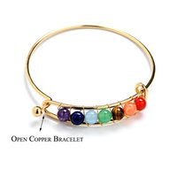 Wholesale bracelet energy cuff online - 4 Styles mm Natural Energy Onyx Stone Cuff Bracelet Round Beads Chakra Bangles For Women Reiki Spiritual Yoga Jewelry G551S