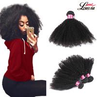 afro saç örgüsü uzantıları toptan satış-8A İşlenmemiş Brezilyalı İnsan Saç Dokuma Afro Kinky Kıvırcık İnsan Saç 3 Adet / grup 8