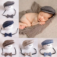 Wholesale baby hat photography - Baby Hats Newborn Peaked Beanie Cap Hat + Bow Tie Photo Photography Prop Outfit Set Toddler Kids Boys Girls Caps
