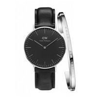 Wholesale Watches Hours Men - Fashion 40MM watch set Bracelet & Watch Men watches PU Leather High Quality WD Brand Clock Hour