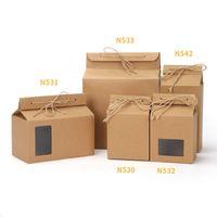 steh auf papierkiste fenster großhandel-Tee verpackung karton kraftpapiertüte, klare fenster box für kuchen cookie lebensmittel lagerung stehen papier verpackungsbeutel lx0094