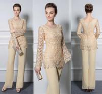 gelbe spitze brautkleider großhandel-Hellgelbe Spitze-Hosen-Klagen für Mutter der Braut Preiswerte formale Bräutigam-Kleider Juwel-Ausschnitt-Chiffon- Hochzeits-Mutter-Gast-Kleider DH4027