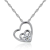 Wholesale real silver lockets resale online - Luxury Designer Heart Silver Necklace Real Photos Shining Crystal Love Necklaces Women Slides Heart Pendant Locket Clavicle Necklace Jewelry