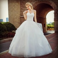 Wholesale organza ruffled dress china for sale - Group buy Plus Size Organza Ball Gown Sweetheart Wedding Dresses With Ruffles From China Floor Length Bridal Gowns Vestido De Novia