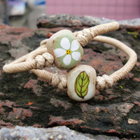 Wholesale fresh flower bracelets - Ceramic Bracelet Hand-woven Flower Fresh Bohemian Personality National Wind Bracelet Beads DIY Creative Fashion Female Jewelry Wholesale