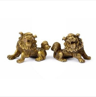 estatuas de perros leones al por mayor-Lucky Chinese Fengshui Pure Brass Guardian Foo Fu Dog Lion Estatua Par