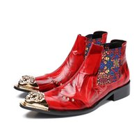 Wholesale mens wedding boots - New Winter Shoes Genuine leather Men Pointed Toe Metal Tip Men's Dress Boots Fashion embroidered Mens Wedding Shoes