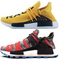 Wholesale yellow cycle shoes - 2018 Human Race Running Shoes Pharrell Williams Yellow Afro Creme x NERD Men Shoes Originals Holi Women Sport Hiking Jogging Sneakers