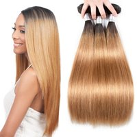 14 zoll blonde haarverlängerungen großhandel-Blonde brasilianische gerade Haarwebart Bundles Ombre 3/4 Bundles zwei Ton 1b 27 Haare weben 100% Echthaar Extensions Wefts 12-26 Zoll