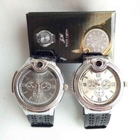 Wholesale collectible watches - Collectible Watch Cigarette Butane Cigarette lighter Flame No Gas Refillable Cigar Lighters Watches With Gift Box 2 Color Can Choose