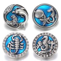 charme für armbänder eine richtung großhandel-Neue Snap Schmuck Kristall Dolphin Sea Blue 18mm Metall Druckknopf Armbanduhren für Frauen Schmuck Charm Armband Eine Richtung