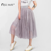 Discount adult green tutus - JLI MAY Long adult tulle skirt wedding maxi 3 layers black white elastic pleated mesh mid-calf tutu women summer elegant party S916