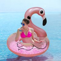 перья фламинго оптовых-Rose Gold Inflatable Flamingo Swimming Ring with Feathers Women Swim Circle Tube Beach Summer Water Party Inflatable Pool Toys
