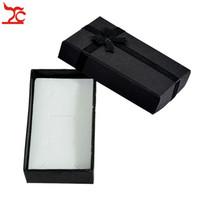 caixa preta cm venda por atacado-Atacado 120 pcs Caixa de Jóias de Papel Preto Conjunto de Colar de Pingente de Anel Caixa de Embalagem De Seda Arco Brinco Caixa de Presente Com Esponja 5 * 8 * 2.5 cm
