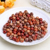 Wholesale Painted Beads Round - 2018 Hot New Mixed Round Wood Beads Fit European Charms Drum Pattern With Ancient Painting 16x16mm Hole:7mm