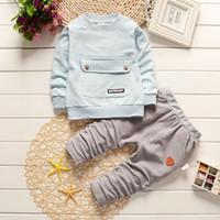 bebek kravat toptan satış-2018 Bebek Takım Elbise Bebek Resmi Beyefendi Kravat Takım Şerit Çocuklar 2 adet Setleri Çocuk Erkek Giysileri Moda Sonbahar Toddler Kıyafet