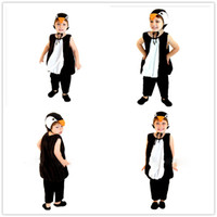 Wholesale animal romper hat online - Baby Girls Boys Halloween penguin cosplay Costume Set romper with hat Kids stage show role play penguin PARTY COSTUME S M L HC43
