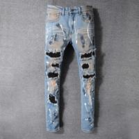 calça jeans masculina jeans venda por atacado-Desgastado dos homens Magro Rasgado Designer de Moda Shorts Magro Motocicleta Moto Motociclista Causal Mens Denim Calças Jeans Hip Hop Buraco
