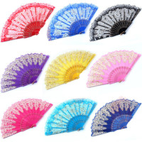 Wholesale rose ornament - Luxury Floral Lace Hand Fans Rose Pattern Glitter style Party Dance Folding Hand Fan Dance Party Kraft Gifts