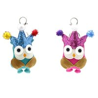 Wholesale Key Chain Crown - Cute Creative Animal Charm Keychain Ladies Women Bag Owl Crown Key Ring Holder for Car Pendant Key Chains