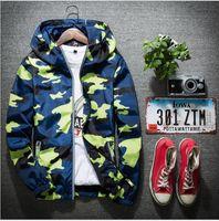Wholesale vintage lurex - Men Spring and Autumn Jacket CamouflageThin Section coat Green Zipper males Hoodies MultipleColor Sport Outdoor Windbreaker 5XL