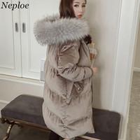 Wholesale korean fur hooded jacket - Neploe Women Velour Thick Bread Cotton Coat 2018 Korean New Fashion Fur Hooded Warm Parkas Loose Long Padded Jackets 66267