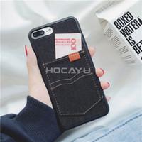 ingrosso jeans caso samsung-YunRT Moda Cowboy Jeans Custodie per cellulari Accessori Anti Choque per Iphone X 6 6 s 6 plus 7 7plus 8 8plus Card Pocket