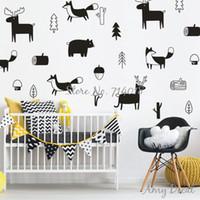 pegatinas de pared de animales del bosque al por mayor-Woodland Nursery Wall Stickers, Cute Animals Tree Forest Vinyl Wall Sticker para Niños Habitación Dormitorio Decoración Navidad Arte de Pared A733