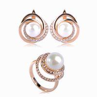 Wholesale Pearl Jade Flower Earrings - whole saleDazz Fashion Simulated Pearl Flower Jewelry Sets Stud Earrings Ring For Women Zircon Copper Big Bead Gold Color Brass Bijoux