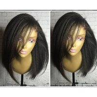 Wholesale Yaki Remy Hair Full Lace - Free Part Yaki Straight Short Human Hair Bob Lace Front Wigs &Full Lace Wig Brazilian Remy Hair