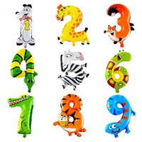 Wholesale numbers digits - 10pcs lot 16inch Animals Number Foil Balloons Digit Helium Ballons Birthday Party Wedding Decor Air Baloons Event Party Supplies