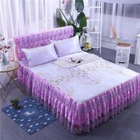 impresión de la hoja de formación de hielo al por mayor-Cubierta de la cama de la falda de cama de seda de hielo multifuncional cubierta de la hoja de tres piezas decoración del hogar del cordón impreso