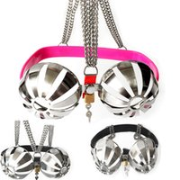 Wholesale chastity breast resale online - Newst Adjustable Stainless Steel Chastity Bra Bondage Breast Hollow out Brassiere Breast Chastity Belt Sex Toys for Couples G7